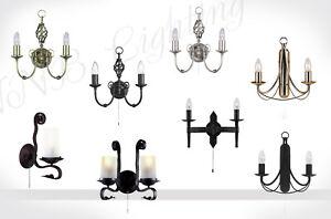 Wandleuchte-Wandlampe-1-2-Flammig-Glas-Metall-Rustikal-Antikmessing-Schwarz-LED