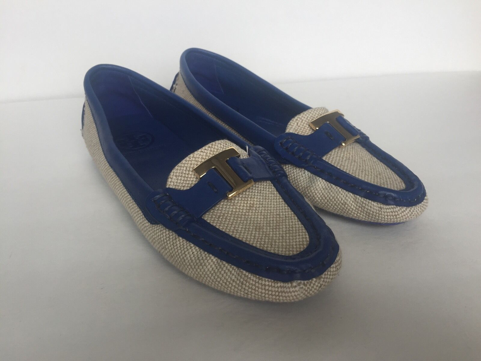 Tory Burch Burch Burch Women Casey Driver bluee Nile Leather Natural Canvas Loafer Sz.5M  275 3e5c74