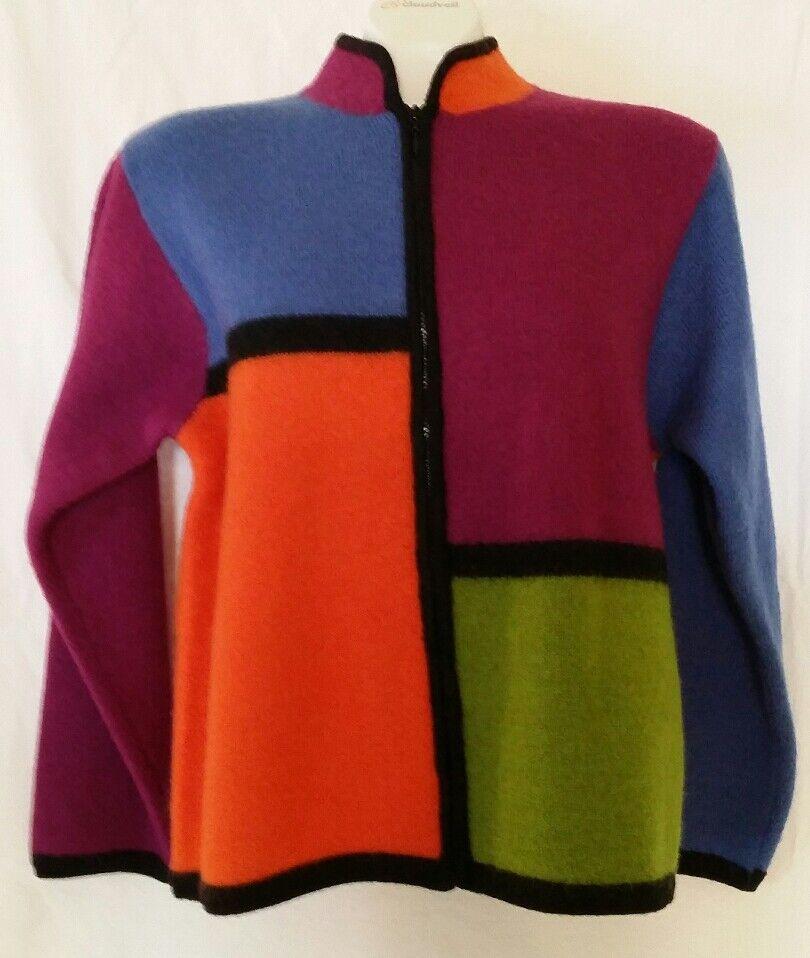 NWT Women's Medium Marisa Christina Wool Sweater Bold Bright colors colors colors NEW NICE    a264d1