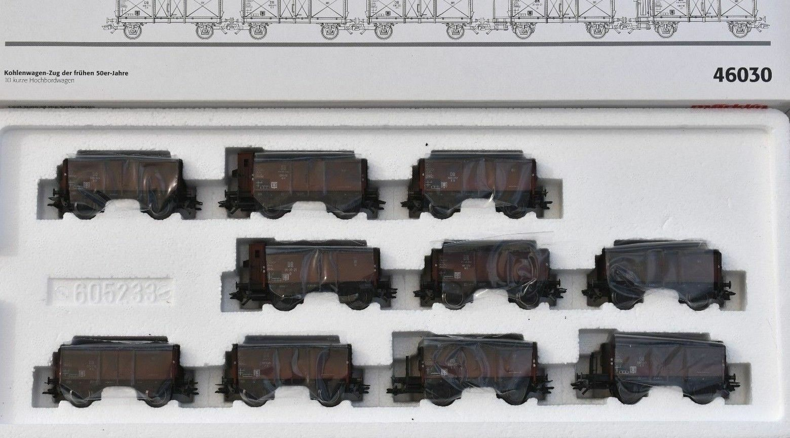 MÄRKLIN 46030 Kohlenwagen-Zug mit 10 kurze Hochbordwagen
