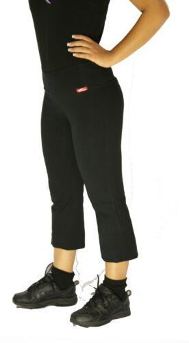 Black capri tights cotton spandex NWT workout fitness aerobic gym yoga pants 296