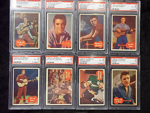 1956-Topps-Bubbles-ELVIS-PRESLEY-Complete-PSA-7-6-5-Set-66-RARE-comp-GRADED-SET