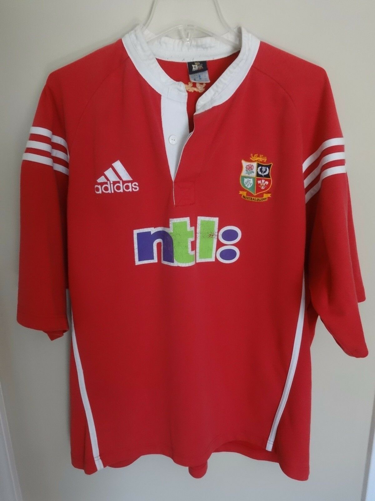 Vintage Adidas britannique & amp;Irish Lions 2001 SS Rugby Jersey Tour d Australie - Hommes 2XL