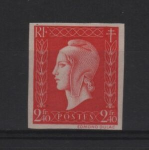 FRANCE-STAMP-YVERT-693a-034-MARIANNE-DULAC-2F40-RED-1945-IMPERF-034-MNH-VVF-T121