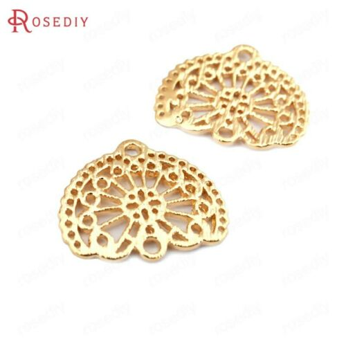 33505 6PCS 15*13MM 24K Gold Color Brass Fan Shape Connect Charms Pendants
