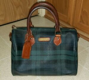 Image is loading Vintage-Polo-RALPH-LAUREN-Green-Plaid-Leather-Duffle- f54b2e6efa9d4