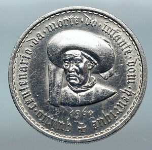 1960-PORTUGAL-Prince-Henry-the-Navigator-20-Escudos-Antique-Silver-Coin-i85217