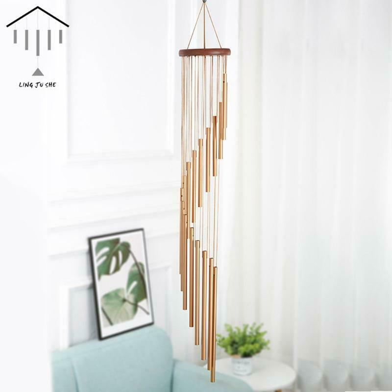 18 Aluminum Alloy Tube Wind Chime with Wooden Board Wall Window Hanging Decor