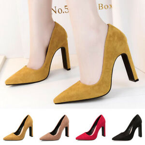 Ladies-Pointy-Toe-Office-Work-Court-Shoes-Women-Faux-Suede-High-Block-Heel-Pumps
