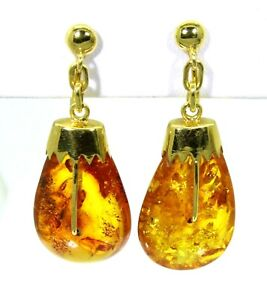 Heavy Natural Amber 14K Yellow Gold Screw Back Earrings