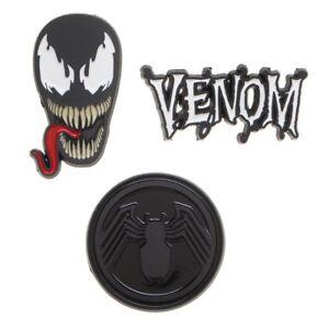 Bioworld-Marvel-Comics-Venom-Face-Logo-Villain-Lapel-Enamel-Pin-Set-LP74MEVEN