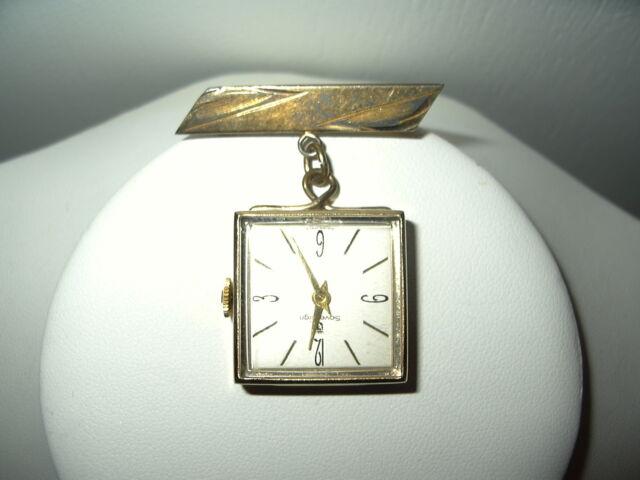 Vintage SOVEREIGN Swiss Made Ladies Goldtone Wind Up Watch & Bond Boyd Bar Pin