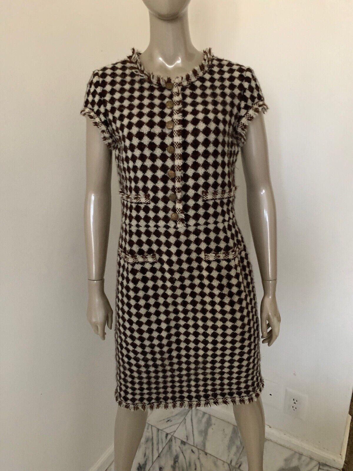 OsCoche de la  renta para Saks Fifth Avenue Talla 8 Vestido De Punto Marrón Forrado Clásico  Disfruta de un 50% de descuento.