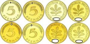 5 Pfennig 1984 D,f,g,J 4 Münzen komplett PP 56529