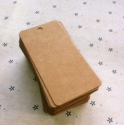 100x Rectangle Type 4cm*8cm Kraft Brown Paper Tags Vintage Clothing Price Tags