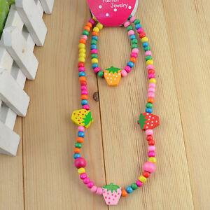 1 Set Cute Multicolor Strawberry Wooden Beads Necklace Bracelet Kids Jewelry Set