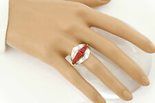 Vtg Sterling Silver Signed Navajo Carved Red Coral Ring sz 9