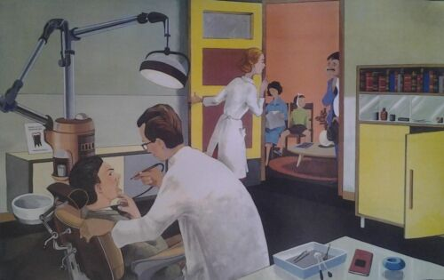 AFFICHE SCOLAIRE OGE HACHETTE 1960 DENTISTE DENTIST GUICHET POSTE POST OFFICE a