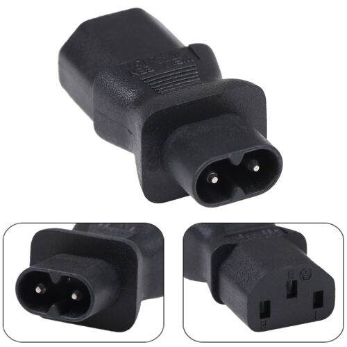 IEC320-C13 male to C8 female PDU UPS power adapter extension travel safe black