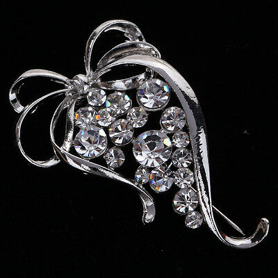 Vogue Silver Plated Shiny Crystal BowKnot Shape Brooch Pin Curve Party Lady Gift