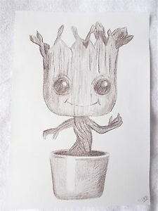 A4 Art Charcoal Pencil Sketch Drawing Funko Pop Vinyl Baby Groot Ebay