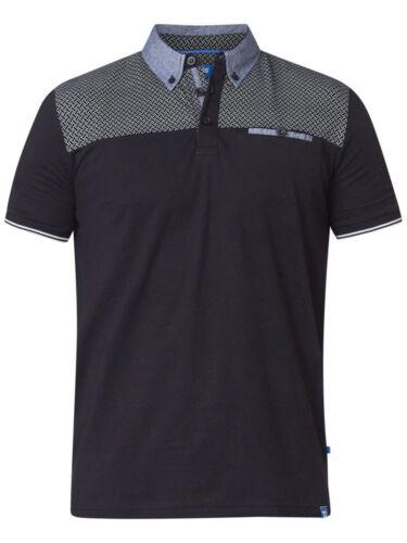 D555 DUKE Homme Polo Shirt à Manches Courtes Imprimé Top yoke Noir S M-XL XXL 600185