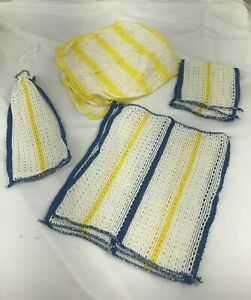 Details about Lot Of 9 Kitchen Towels Wash Clothes Blue Yellow White