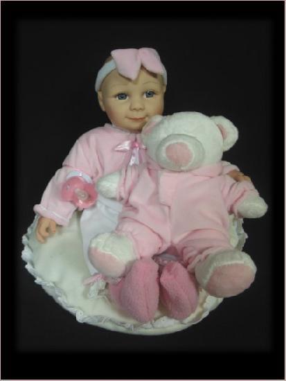 1994) bezaubernde Baby Puppe Franzi Sammlerpuppe Rosa Teddy & Schnuller ca. 36cm