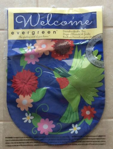 NEW Evergreen Hummingbird Applique Decorative Garden Flag