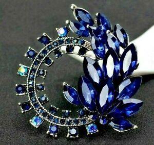 Glamorous-Deep-BLUE-Silver-SWIRL-AB-Rhinestone-Leaf-Flower-Retro-Vintage-Brooch