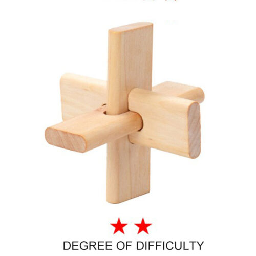Wooden Kongming Lock Brain Teaser Puzzle Children Adults Educational Game Toy 1p