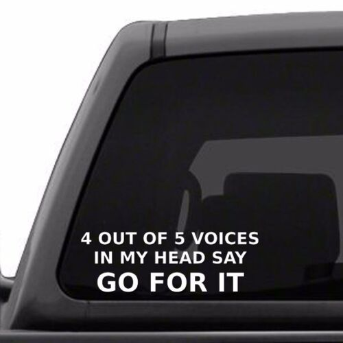 4 Out Of 5 Voices In My Head Say Go For It Psycho Funny Vinyl Decal