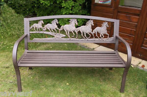 Image Is Loading Cast Iron And Steel Horse Bench Garden Furniture