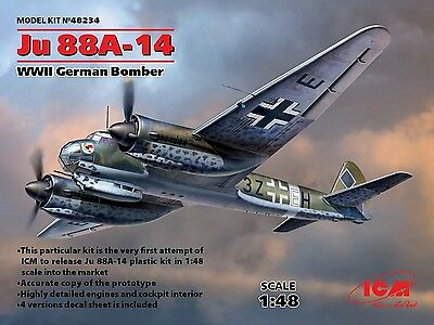 ICM- 1:48 Ju 88A-14 ICM48234 Bombardero Alem/án Segunda Guerra Mundial
