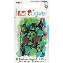 Prym 30 Love Color snapshots Boutons-pression 12,4 mm Pomme Vert Marron 393005