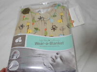 Just Born Cotton Wear-a-blanket Hippo Alligator 0-6 Months Small Tan