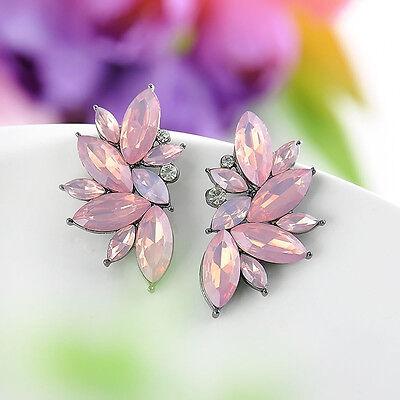 One Pair Elegant Pink Crystal Angel Wing Design Ear Stud Earring Jewelry Party