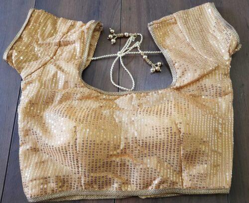 Sari Saree Blouse Gold Indian Bollywood Stitched Choli Top Belly Dance Readymade