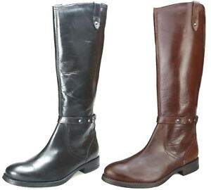 27c3258c638 Details about Ladies Real Leather Knee High Low Heel Flat Zip Biker Riding  Style Boots