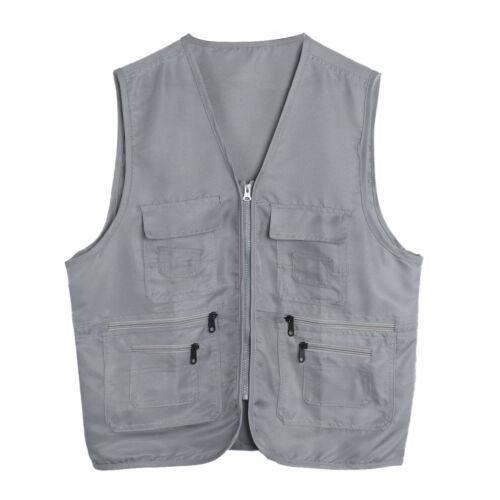 Men/'s Multi Pockets Vest Gilet Fishing Hunting Jacket Outdoor Vest Waistcoat