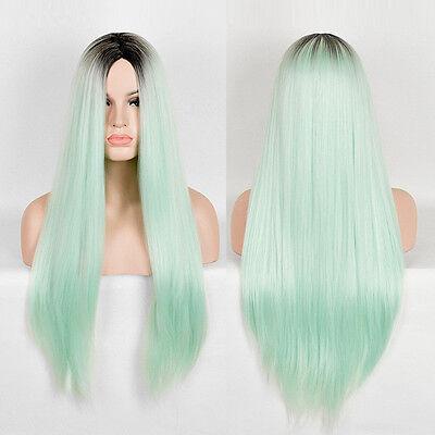 New Long Straight Hair Full Wig Black Ombre Mint Natural Part Bang Cosplay