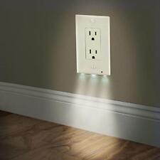 Modern Duplex Night Angel Light Sensor LED Plug Cover Wall Outlet Coverplate US