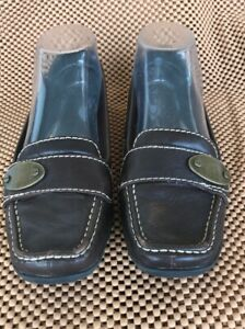 Liz-Claiborne-Womens-Loafers-Size-6M-Brown-Leather-Slip-On-Shoes-work