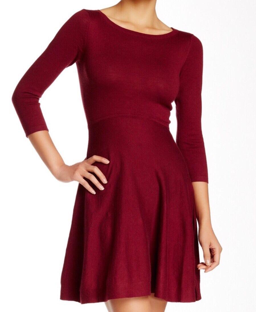 French Connection Women's Burgundy Sydney Knit Flare Dress Sz 4  128