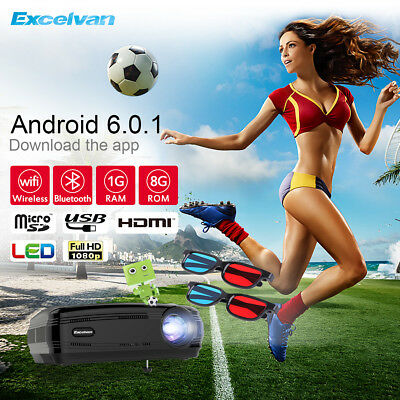 Excelvan 4K Android 6.0 1+8GB Proyector WiFi Bluetooth 3D 1280*768 Multimedia
