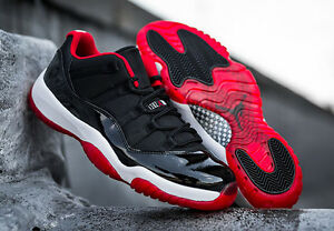 on sale bd1a5 41a80 Details about Nike Air Jordan XI 11 Low Patent Leather Black True Red White  7.5 - 14 Retro PE