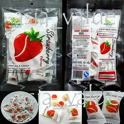 Chewy Strawberry Candy ( 67g.) Delicious Thai Fruit Premium Toffee Snack yummy