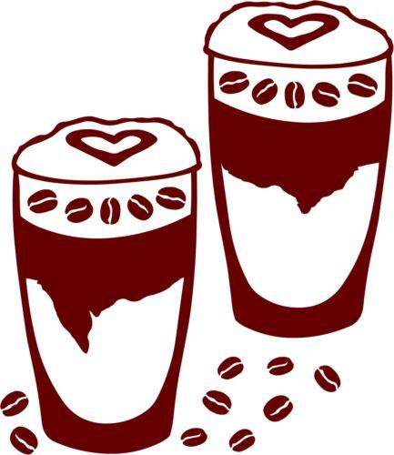 Café latte macchiato autocollant mural sticker vitre arrière voiture Miroir