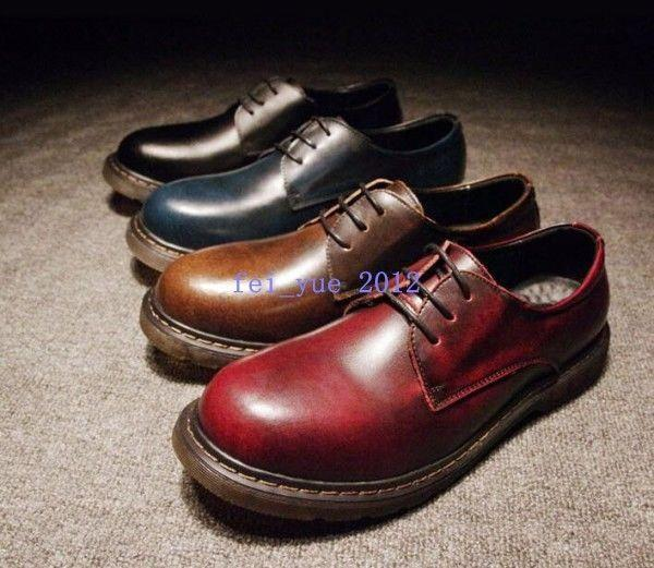 Mens Vintage Formal Lace up Retro Lace up Big Round Toe British Oxfords shoes @
