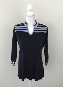 Exclusively-Misook-Women-s-Shirt-Top-Size-XS-Blue-Stripes-Great-Condition